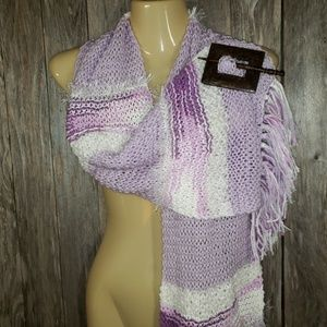New Hand Knitted Lavender White Boho Scarf Soft